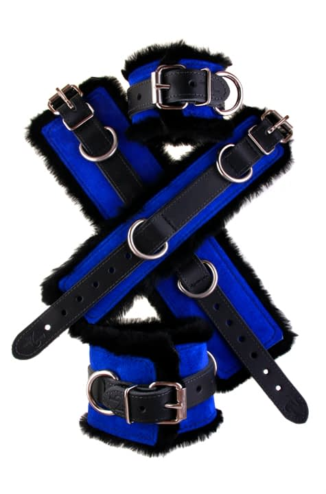 Faux Fir Bondage Cuffs Blue