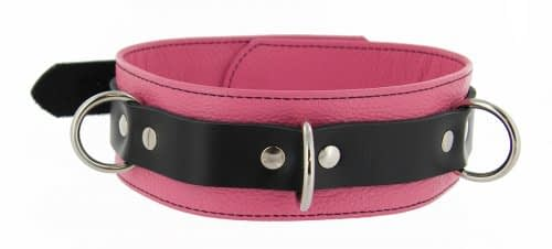 Tri Ring Locking Leather Pink Collar
