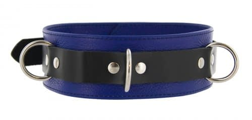 Tri Ring Locking Leather Blue Collar