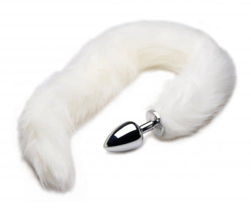 White Mink Tail Anal Plug Curled