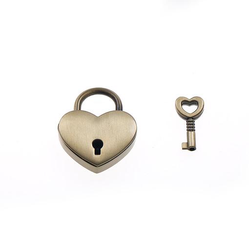Antique Brass Heart Shaped PadLock
