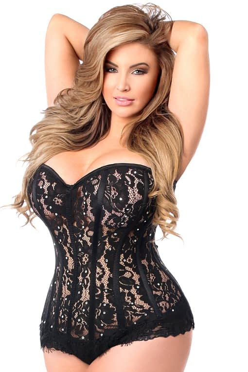 Lace Steel Boned Corset With Rhinestones Close Up Black Queen