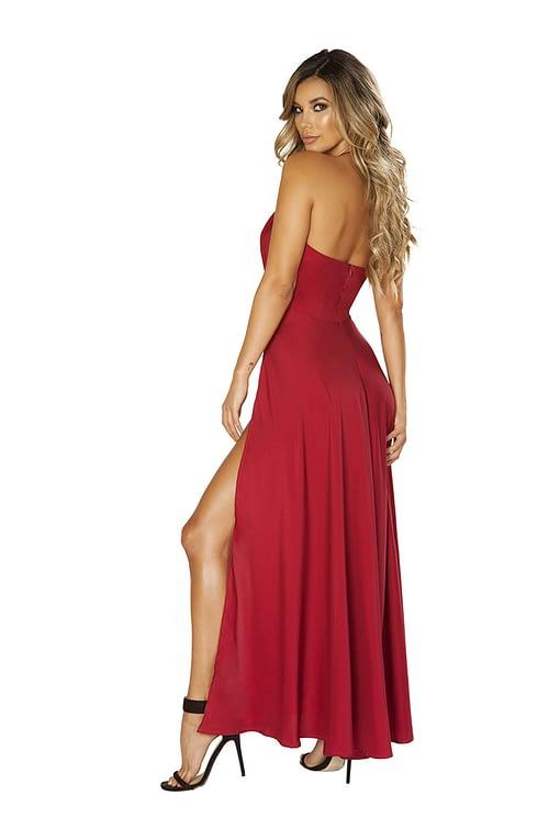 Sensual Satin Red Maxi Dress Back