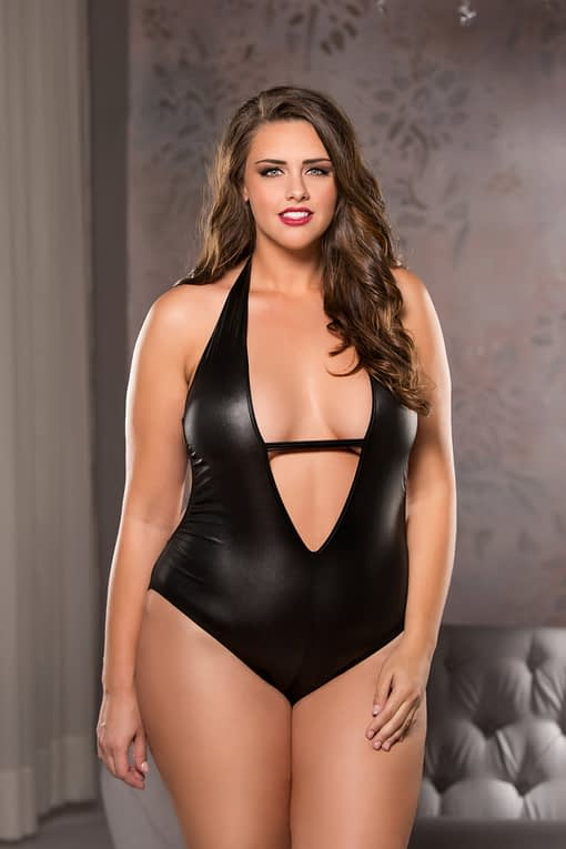 Plunging Teddy Plus Size