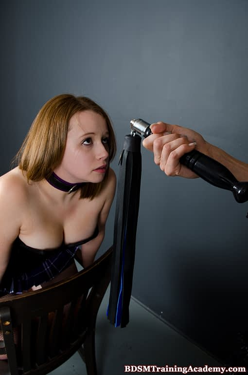 Advanced Swivel Flogger Held In Front Of Slave