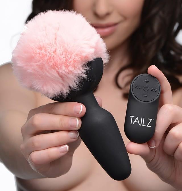 Vibrating Pink Bunny Tail Anal Plug Displayed